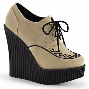 Gothic Punk Platform Wedge Creeper Shoes Suede